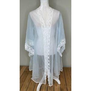 Vintage MISS ELAINE Women's Sheer Lace Robe M